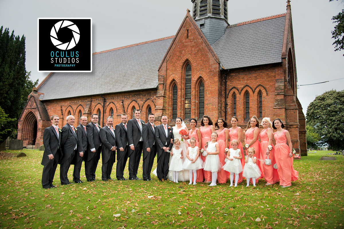 Bridal party photograph with church background - Wedding photographer Cheshire